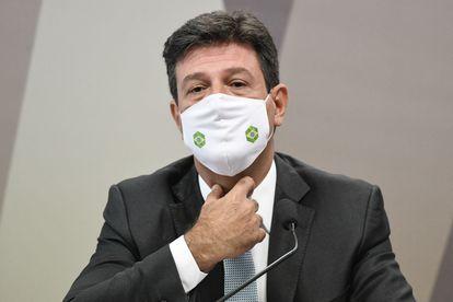 O ex-ministro da Saúde do Brasil, Luiz Henrique Mandetta, durante sessão da CPI no Senado.