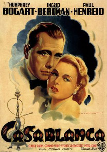 Cartaz de 'Casablanca', o mítico filme de Michael Curtiz, que terá objetos cenográficos leiloados.