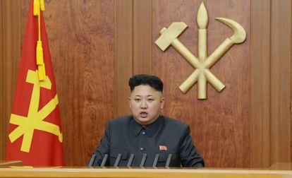 Kim Jong-un durante sua mensagem de Ano Novo.
