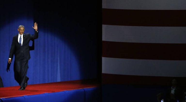 Barack Obama chega para pronunciar o seu último discurso como presidente, em Chicago.