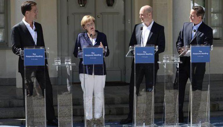 Rutte, Merkel, Reinfeldt e Cameron, esta terça na Suécia.