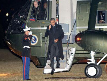Barack Obama, retornando do México.