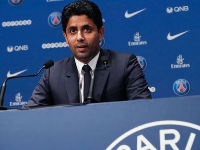 Al-Khelaifi, presidente do PSG, durante conferência de imprensa.