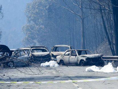 Carros carbonizados na estrada entre Figueiró dos Vinhos e Castanheira de Pera.