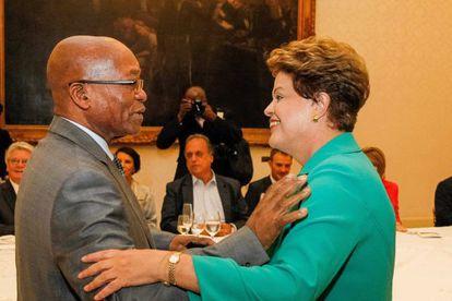 O líder sul-africano Jacob Zuma e Dilma Rousseff.