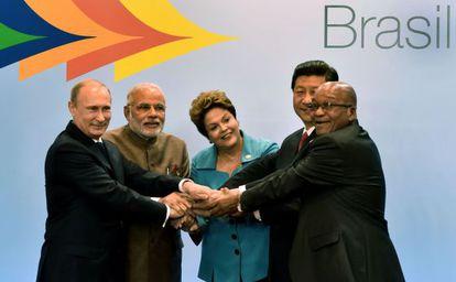 Os mandatários dos BRIC, em Fortaleza.