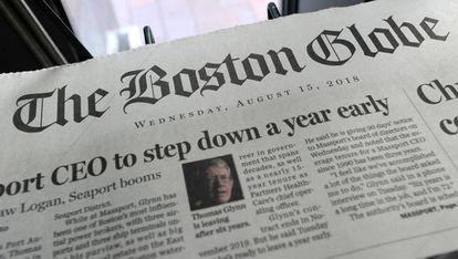 A edição de 'The Boston Globe' do dia 15 de agosto de 2018.