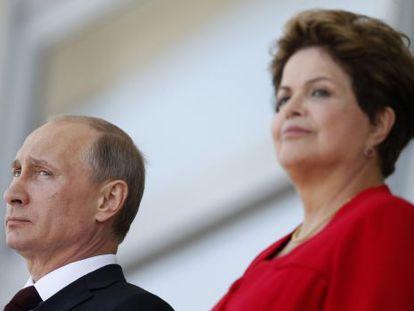 Os presidentes Putin e Rousseff no Palácio do Planalto, em Brasília.