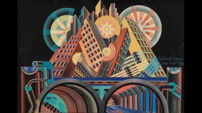 Fortunato Depero, 'Arranha-céus e túneis' (Gratticieli e tunnel), 1930.