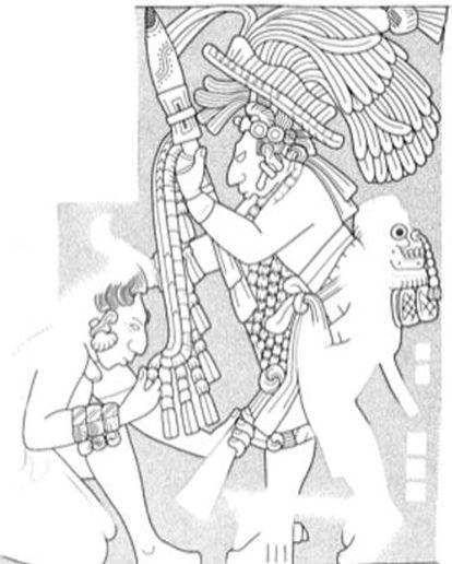 Uma gravura da cidade maia de Yaxchilán representa o chefe local obrigando um prisioneiro em atitude de submissão a beijar o escudo de seu captor. Na parte baixa das costas, o rei vitorioso leva um troféu de crânio.