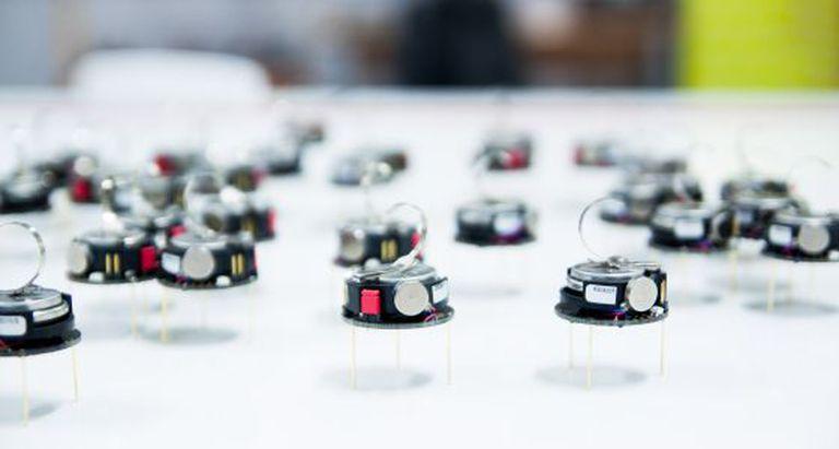 Robôs kilobots, projetados para se agrupar, em Sheffield.