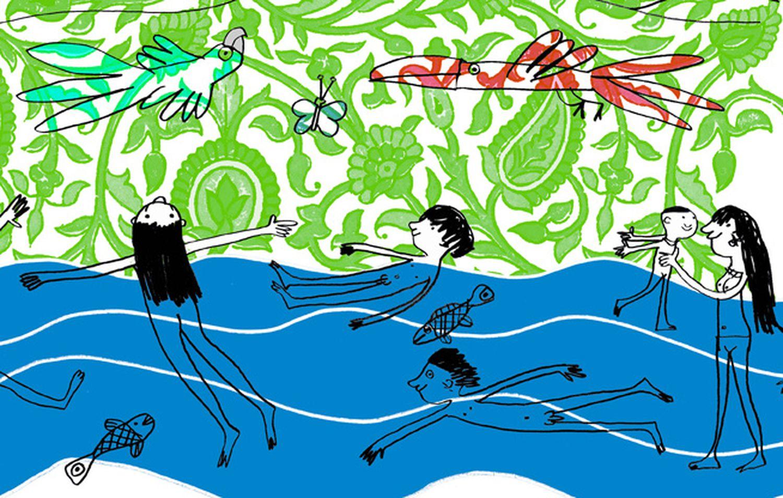 Ilustração de Mariana Massarani para o livro infantil 'Banho!'.