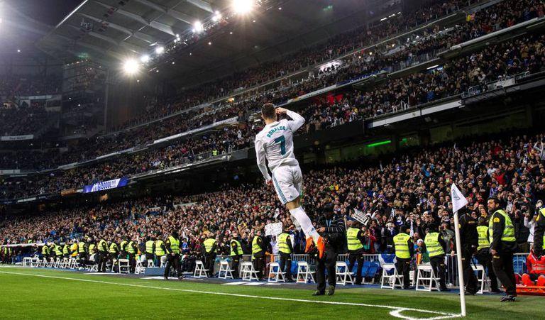 Cristiano comemora um de seus quatro gols contra o Girona.