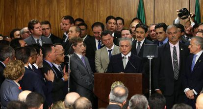 O presidente Michel Temer e ministros na quinta.