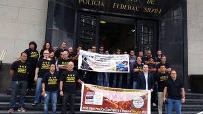 Funcionários da PF protestam contra a PEC 412 no Rio de Janeiro.