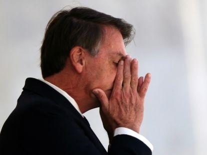 Bolsonaro no dia 27 na rampa do Palácio do Palnalto.
