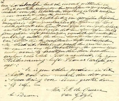 Carta escrita por Elisabeth, a irmã de Van Gogh. COLEÇÃO PRIVADA