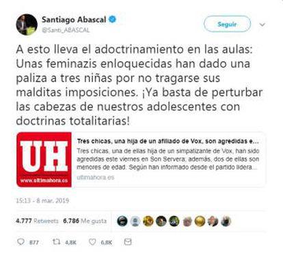 O tweet de Santiago Abascal – já eliminado – com a notícia falsa.
