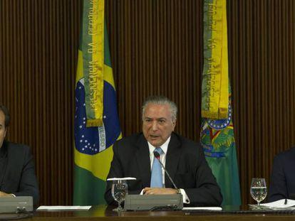 Rodrigo Maia, Michel Temer e Eliseu Padilha.