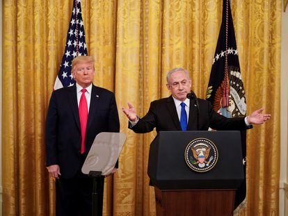Donald Trump e Benjamin Netanyahu, nesta terça-feira na Casa Branca.