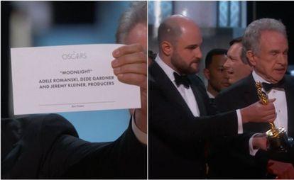Produtor de 'La, La Land' exibe para a câmera o cartão correto.