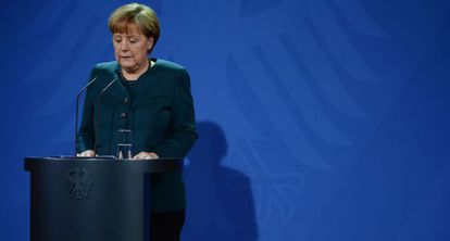 Angela Merkel durante uma coletiva de imprensa na semana passada.