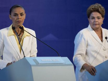 As candidatas Marina Silva e Dilma Rousseff durante um debate.