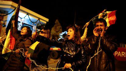 Alguns manifestantes em dezembro passado, em La Rinconada, em La Paz (Bolívia).