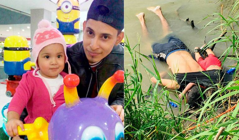 Óscar e Valeria, em uma foto de um ano atrás; à direita, afogados no Rio Bravo.