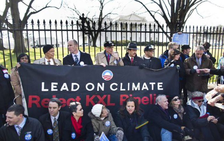 Ativistas protestam em frente à Casa Branca contra oleoduto Keystone XL./EFE