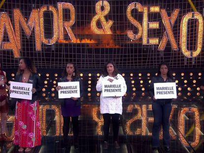 Amigos e familiares fazem um tributo à Marielle Franco no programa Amor & Sexo.