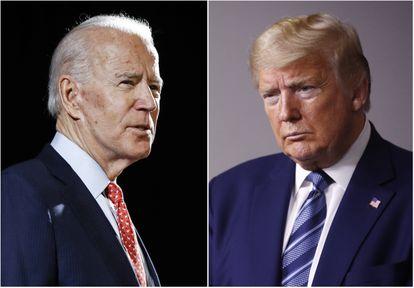 Os rivais Joe Biden e Donald Trump, que se enfrentam em debate nresta terça.