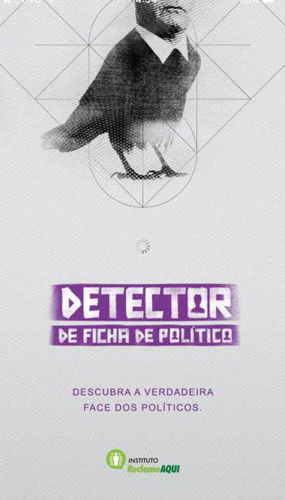 Tele de abertura do aplicativo Detector de ficha de político.