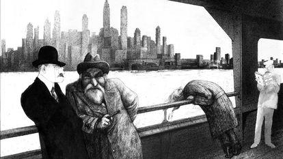 "Ilustração de Ralph Steadman para ""Freud"" (Libros del Zorro rojo)."