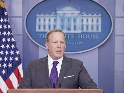 O porta-voz da Casa Branca, Sean Spicer, na segunda-feira.
