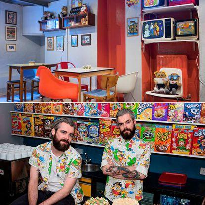 Alan e Gary, proprietários do Cereal Killer Café, em Londres, onde se pode comer café da manhã a qualquer hora do dia.