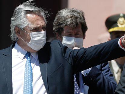 O presidente da Argentina, Alberto Fernández, em 27 de outubro durante homenagem realizada em Buenos Aires pelo décimo aniversário de falecimento do ex-presidente Néstor Kirchner.