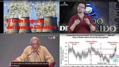 Captura de vídeos do YouTube que negam a mudança climática.