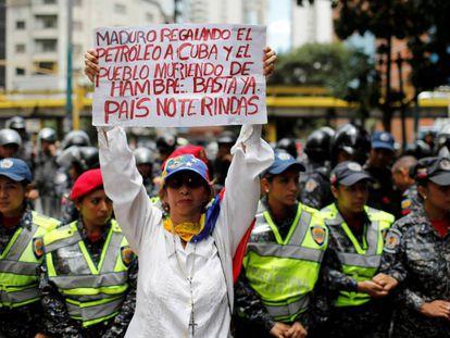 Protesto contra o presidente Maduro.