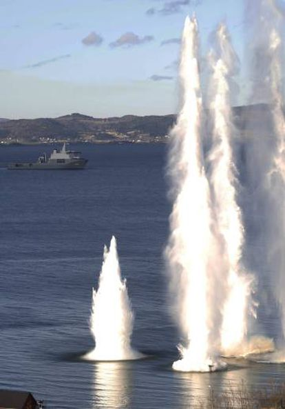 Exercício da OTAN em águas de Trondheim (Norueguesa), nesta segunda-feira.