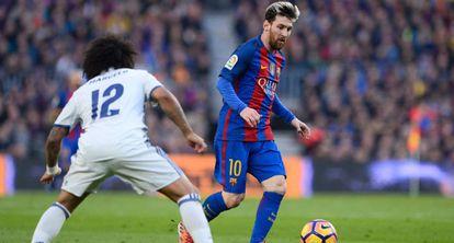 Messi e Marcelo em Barça x Real.