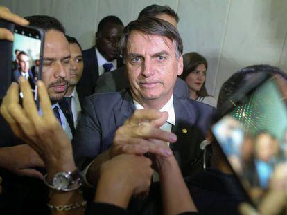 Bolsonaro durante evento no TST, em Brasília.