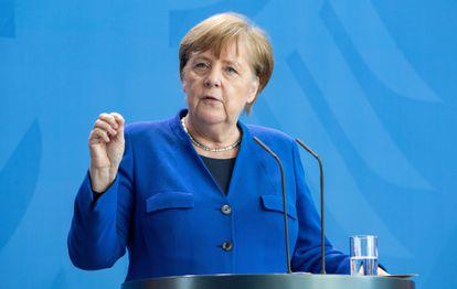 Angela Merkel, chanceler alemã, durante pronunciamento no dia 20 de abril.