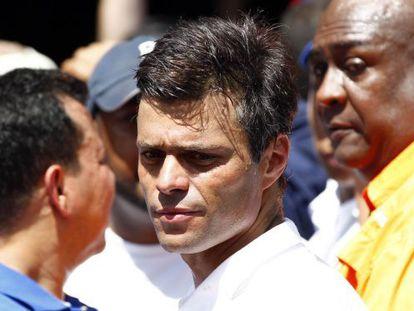 O oposicionista Leopoldo López, em uma manifestação em Caracas.