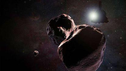 Recriação artística do voo da sonda 'New Horizons' sobre Arrokoth.