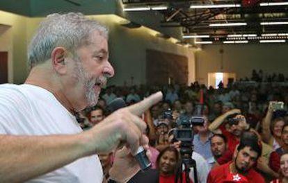 O ex-presidente Lula em evento do PT, em Ribeirão Preto.