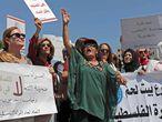 Protesta para pedir una investigación sobre la muerte de Israa Ghrayeb, el lunes en Ramala.