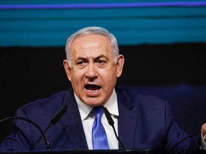 Benjamin Netanyahu, na noite de quarta-feira, 10 de abril, em Tel Aviv.
