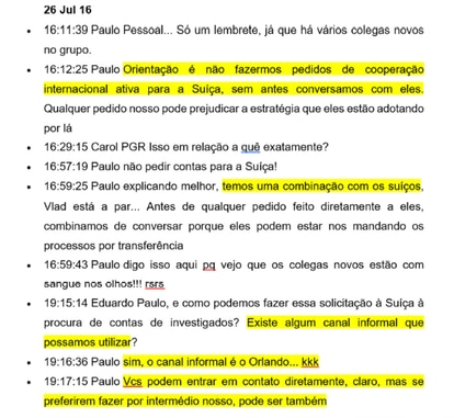 Trecho de mensagem selecionada pelo perito do ex-presidente Lula e enviada em relatório ao STF.