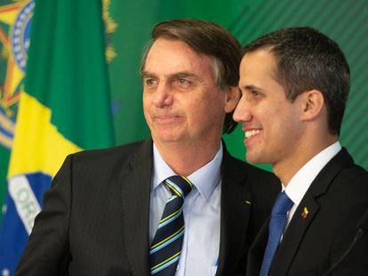 Bolsonaro e Guaidó no Palácio do Itamaraty, nesta quinta-feira.